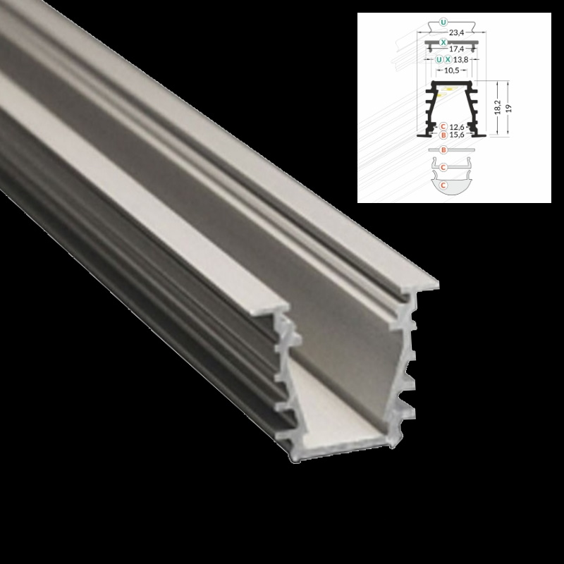 1m alu leiste deep aluminium profil abdeckung f r led streifen einbau ebay. Black Bedroom Furniture Sets. Home Design Ideas