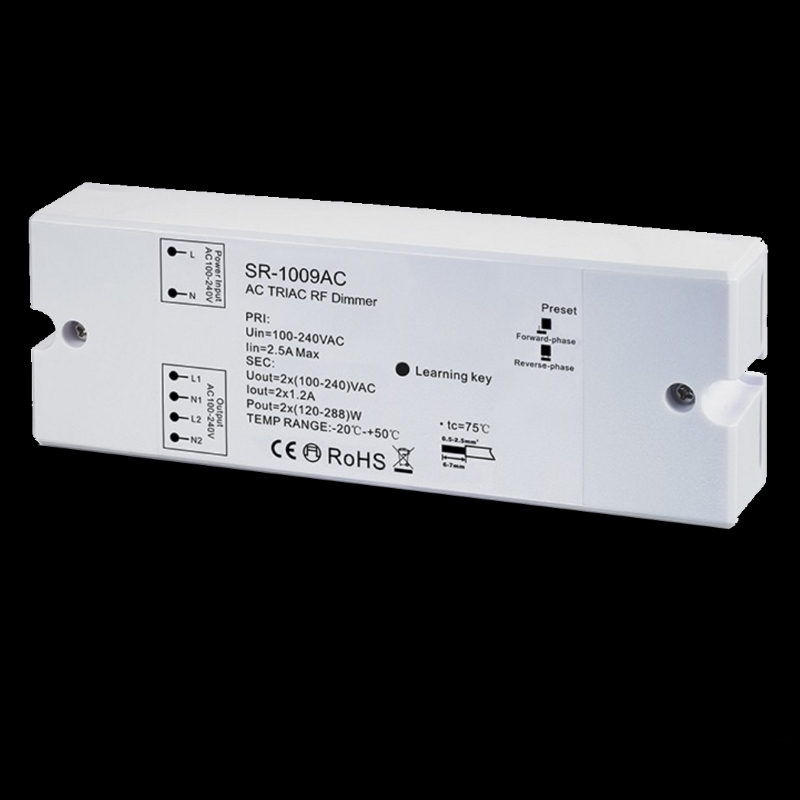 funk led dimmer f r 230v ac 2x 250w f r rf mehrzonen sender sr 1009ac ebay. Black Bedroom Furniture Sets. Home Design Ideas