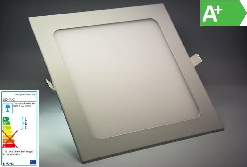 1080Lm eckig- 20x20cm DA 20mm hoch warm-weiß 18W LED Decken Einbau-Leuchte