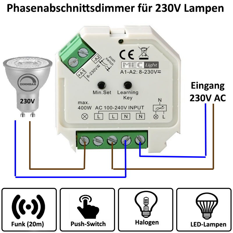 1 kanal funk led dimmer 230v ac 1x 400w f r rf mehrzonen. Black Bedroom Furniture Sets. Home Design Ideas
