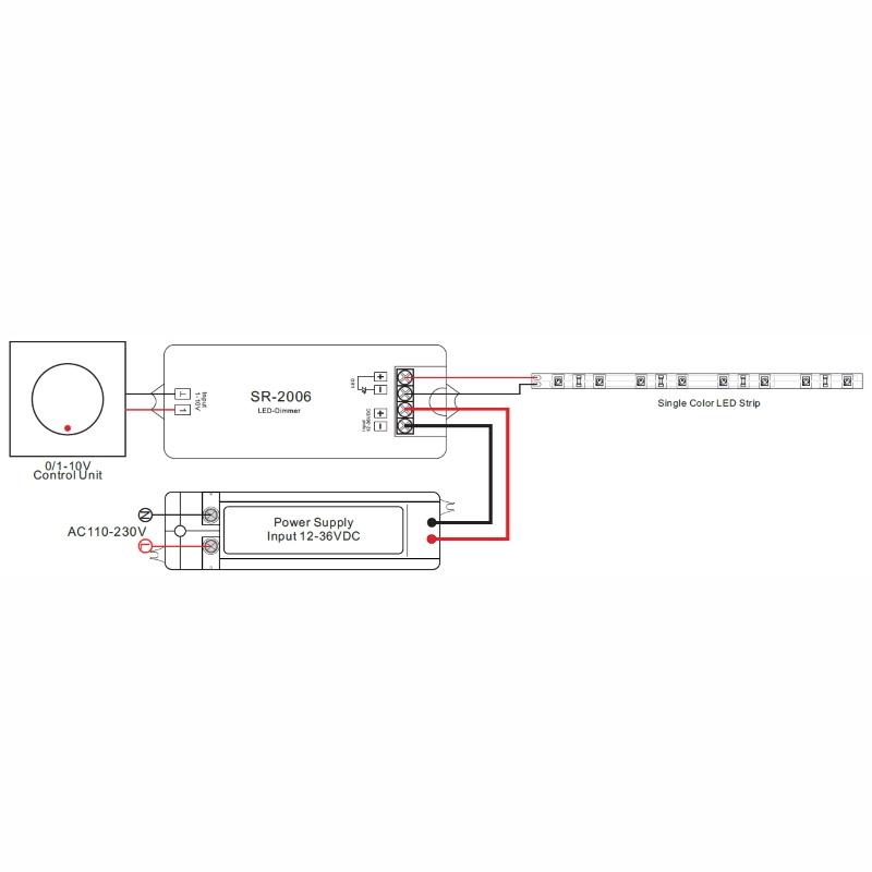 1-Kanal LED Dimmer (SR-2006) für 1-10V Schalter 1x 8A (12-36V / 96 ...