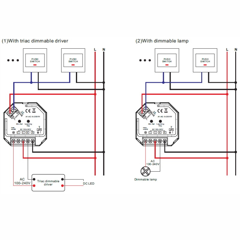 1-Kanal Funk-LED-DIMMER 230V/AC 1x 400W für RF Mehrzonen-Sender \