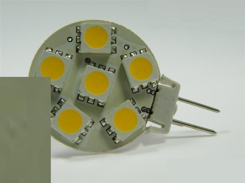 G6,35/GY6,35 LED Stiftsockel 6x 3 Chip 96Lm 10-30V (Scheibe) 1,2W warm weiß