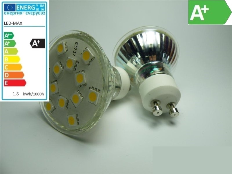 GU10 LED Strahler - 12x 3-Chip-SMD-Leds - 180lm 1,8W - warm-weiß