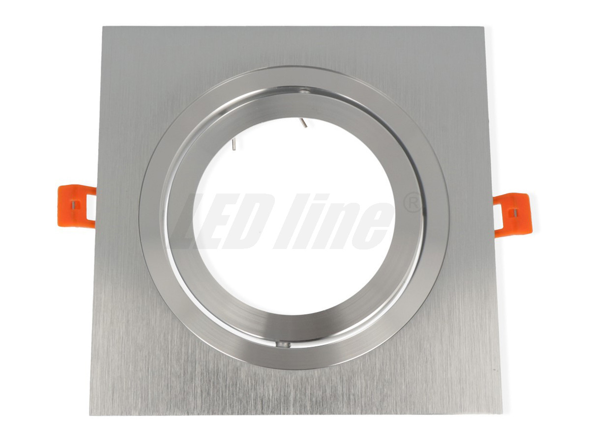 G53/AR111 (ES111) Einbaurahmen -eckig / schwenkbar- 140mm=DA in Aluminium silber