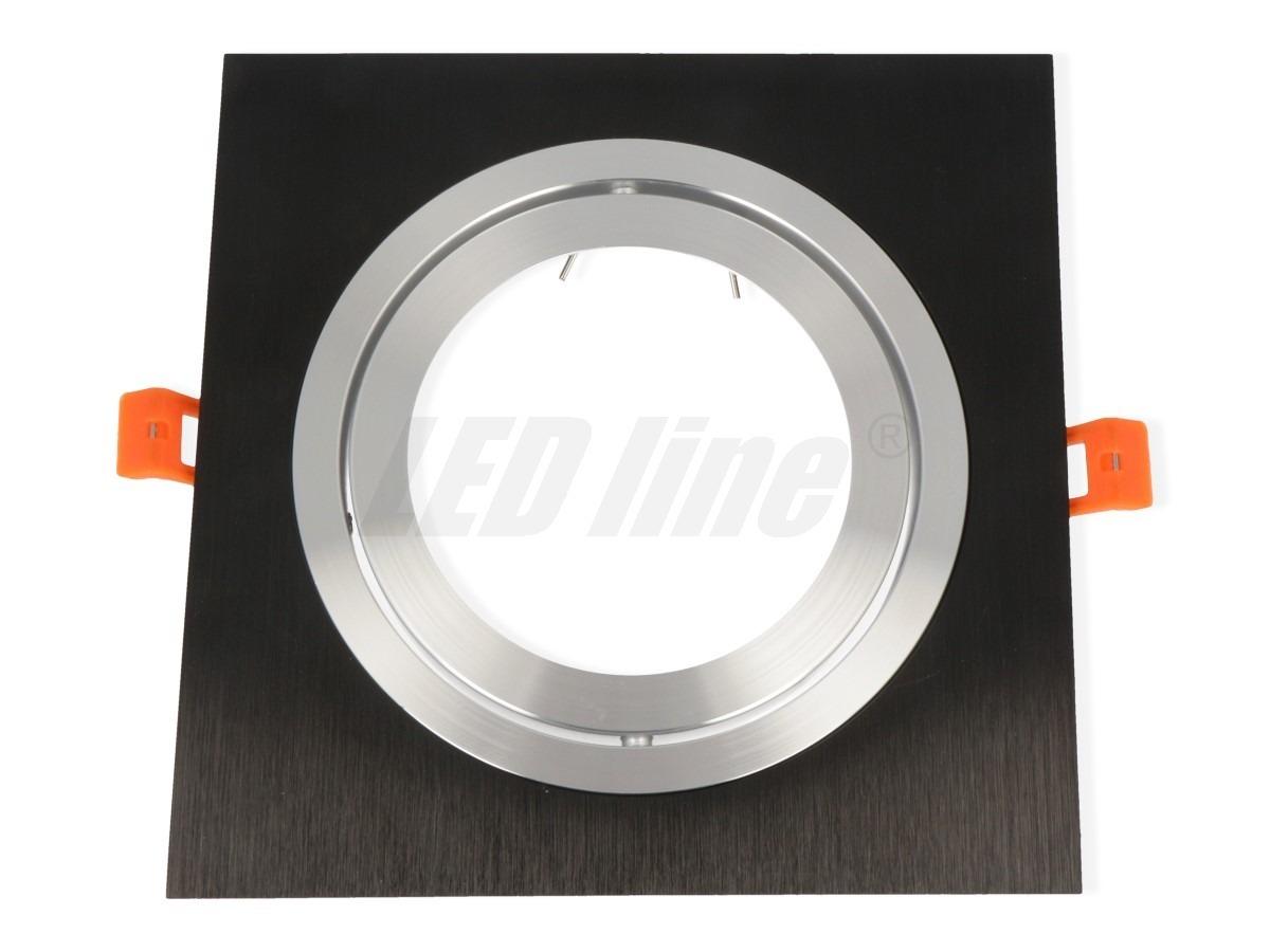 G53/AR111(ES111) Einbaurahmen eckig/schwenkbar 140mm=DA Aluminium schwarz-matt