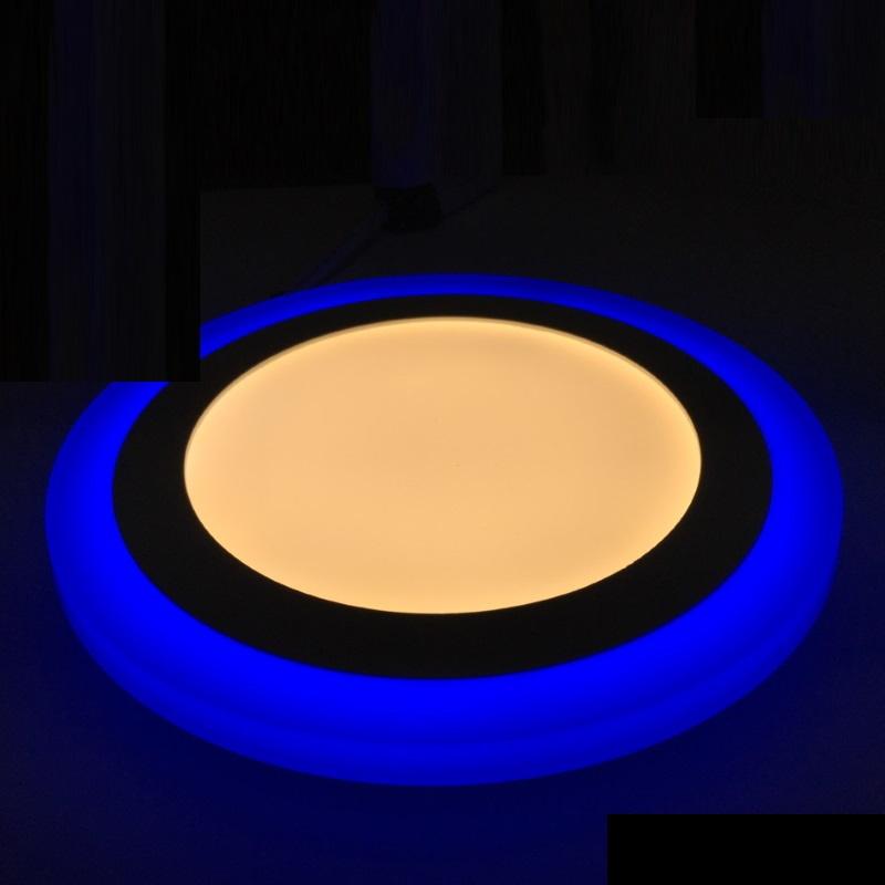 Dekorative Design LED Deckenleuchte 16W -rund- mit blauem Leuchtrand - warm-weiß