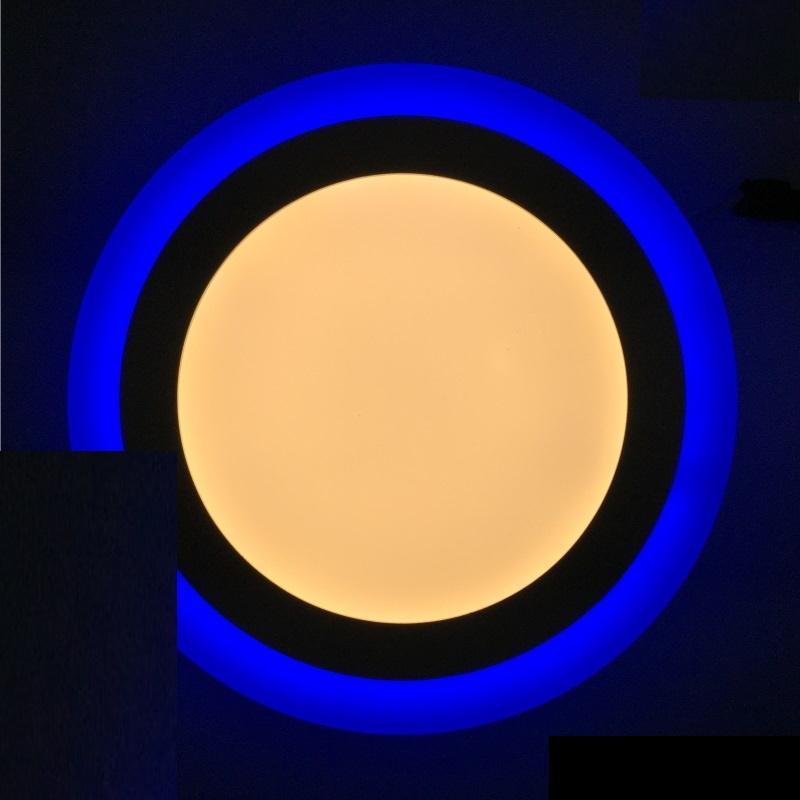 Dekorative Design LED Deckenleuchte 9W -rund- mit blauem Leuchtrand - warm-weiß