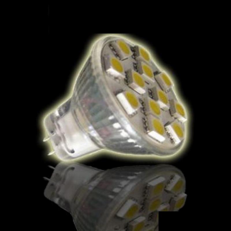 MR11/GU4 LED-Strahler 12x 3-Chip-SMD-Leds - 1,8W - 180lm - kalt-weiß (6000K)