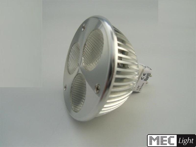 MR16/GU5.3 LED Spot -dimmbar- 3x 2W Bridgelux-LEDs - 400lm - warm-weiß 2700K