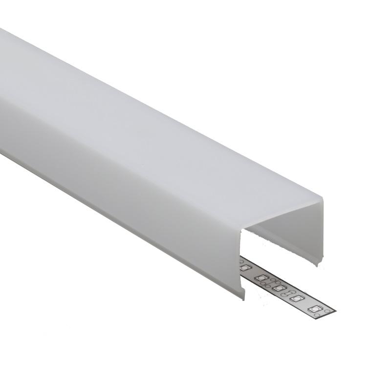 """(7,75€/m) 2m Klick-Abdeckung E9 eckig für unsere ALU-Profile """"VARIO"""" in milchig"""