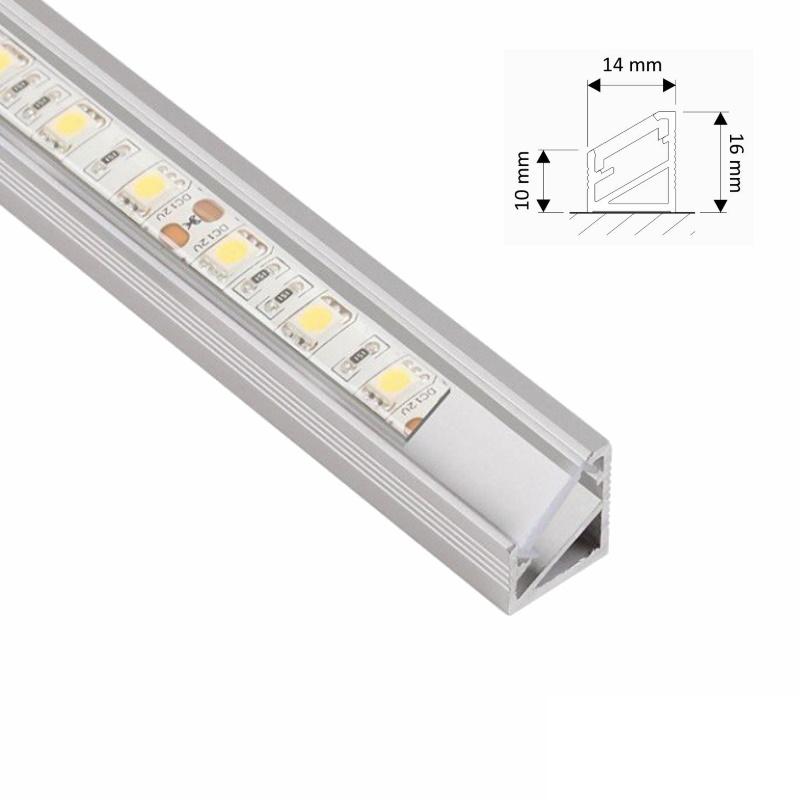 """1m ALU-Profil/Leiste """"ECKE"""" - klare/durchsichtige Abdeckung für LED-Streifen"""
