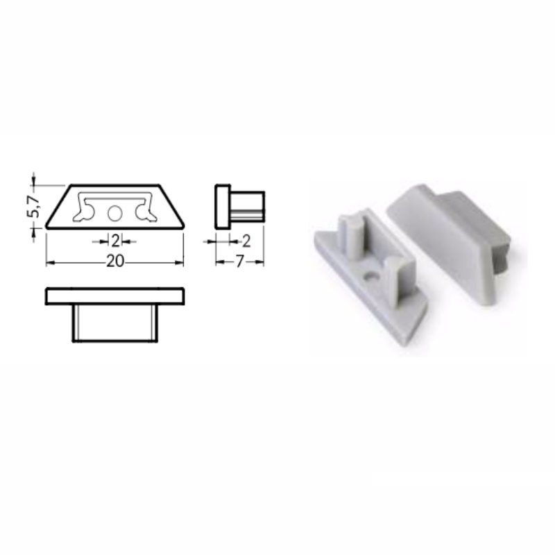 2x Endkappe/Profilabschluss für ALU-Profil
