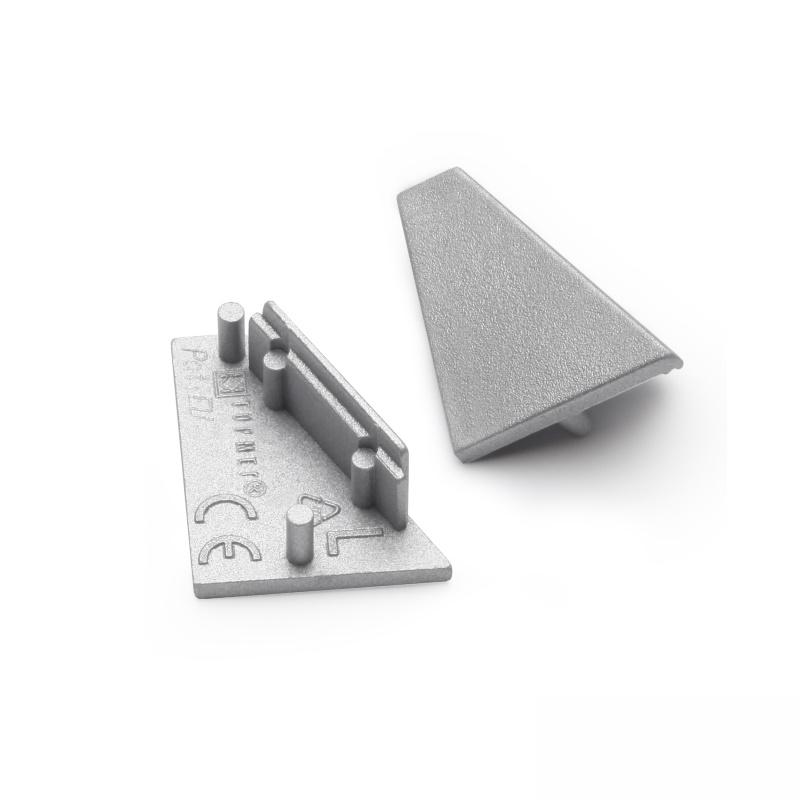 2x Endkappe/Profilabschluss für Alu-Profil CORNER-14 (ECKE) in silber (2 Stück)