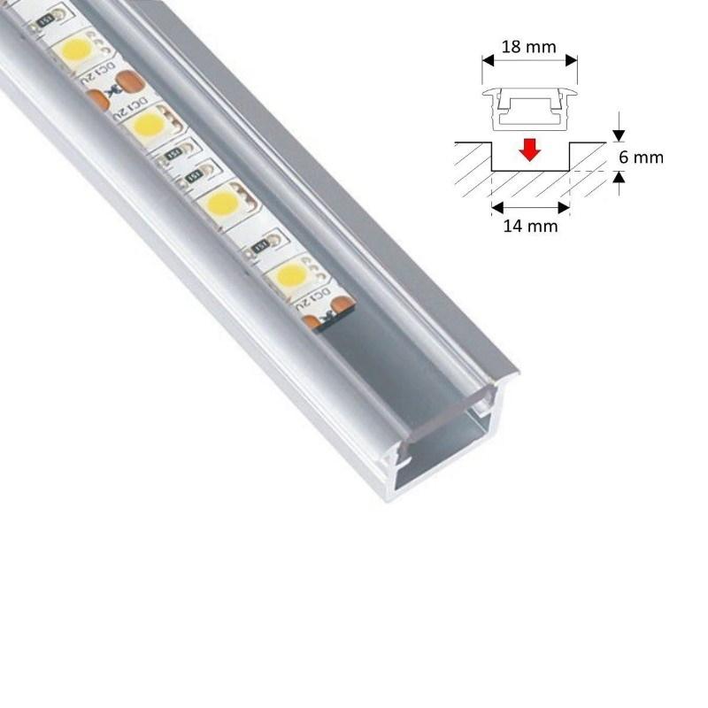 """1m ALU-Profil/Leiste """"FUGE-S"""" für LED Streifen - klare Abdeckung -durchsichtig"""