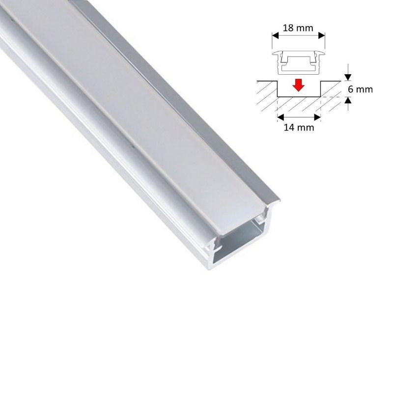 """(7,95€/m) 2m ALU-Profil / Leiste """"FUGE-S"""" für LED Streifen + opaler Abdeckung"""