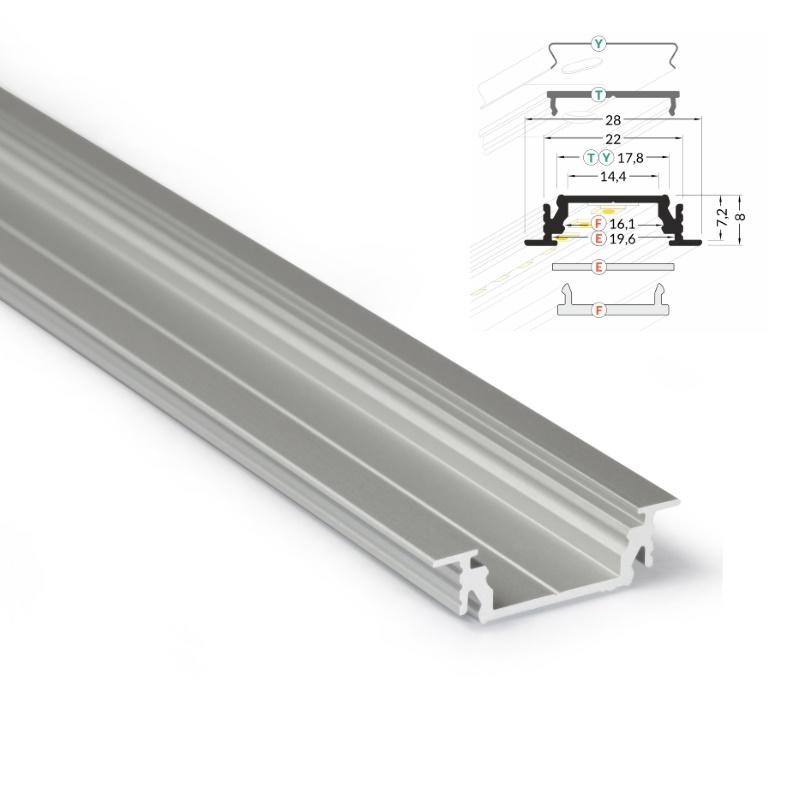 1m einbau profil groove 14 aluminium leiste abdeckung f r led streifen alu ebay. Black Bedroom Furniture Sets. Home Design Ideas