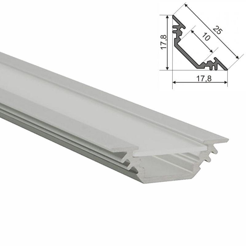 """ALU-Profil / Leiste """"TRIO-10"""" für Led Streifen + Abdeckung silber ECKE"""