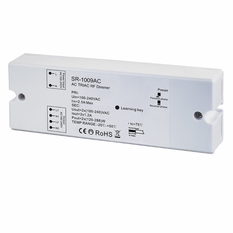 funk led dimmer 230v ac 2x 250w f r rf mehrzonen sender sr 1009ac ebay. Black Bedroom Furniture Sets. Home Design Ideas