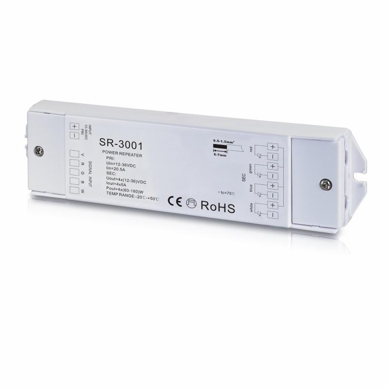 RGB-W LED-Verstärker (SR-3001) / RGBW Amplifier - 12-36V/DC (60W-180W) - 4x 5A