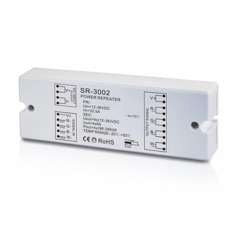 RGB-W LED-Verstärker (SR-3002) / RGBW Amplifier - 12-36V/DC (96W-288W) - 4x 8A
