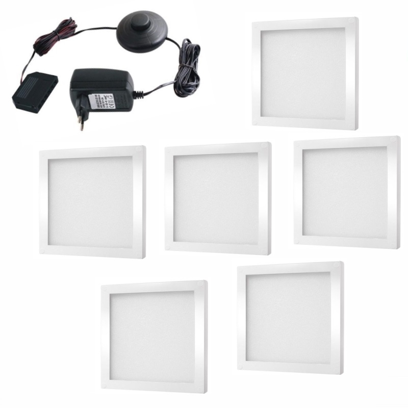 1-6x LED AUFBAU Möbel-/Unterbauleuchte FOTON in weiß 12V / 3W