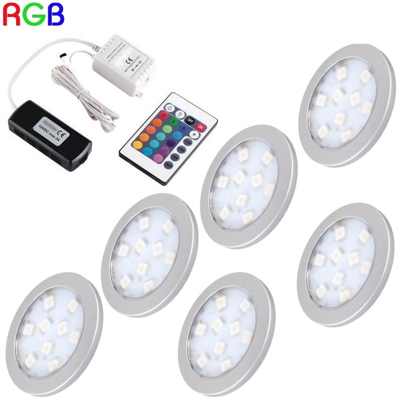 """1-6 RGB-LED Aufbau Möbel-/Unterbauleuchte """"ORBIT"""" + RGB-Controller + Trafo"""