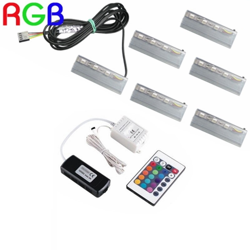 1-6 RGB CLIPS als Glaskantenbeleuchtung + RGB Controller + LED Trafo Komplett