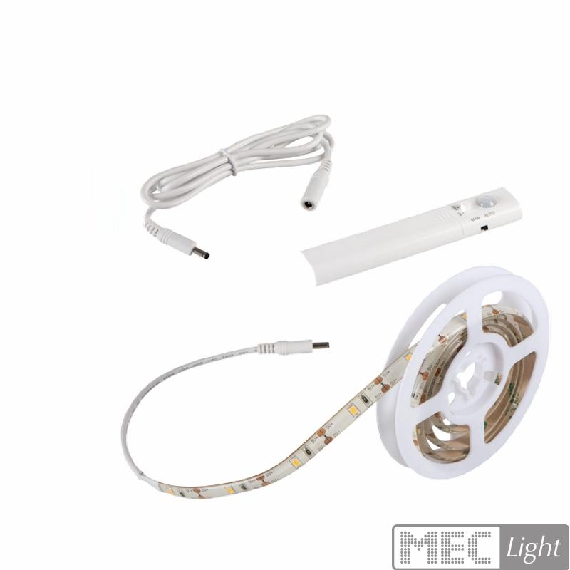 1m LED Stripe Set mit Sensor Bewegungsmelder und Batterie Streifen Band Kette