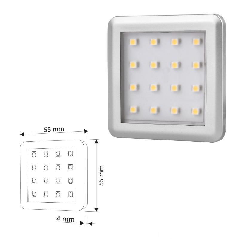 LED AUFBAU Möbel-/Unterbauleuchte SQUARE -silber- warm-weiß (3000k) 12V/2W