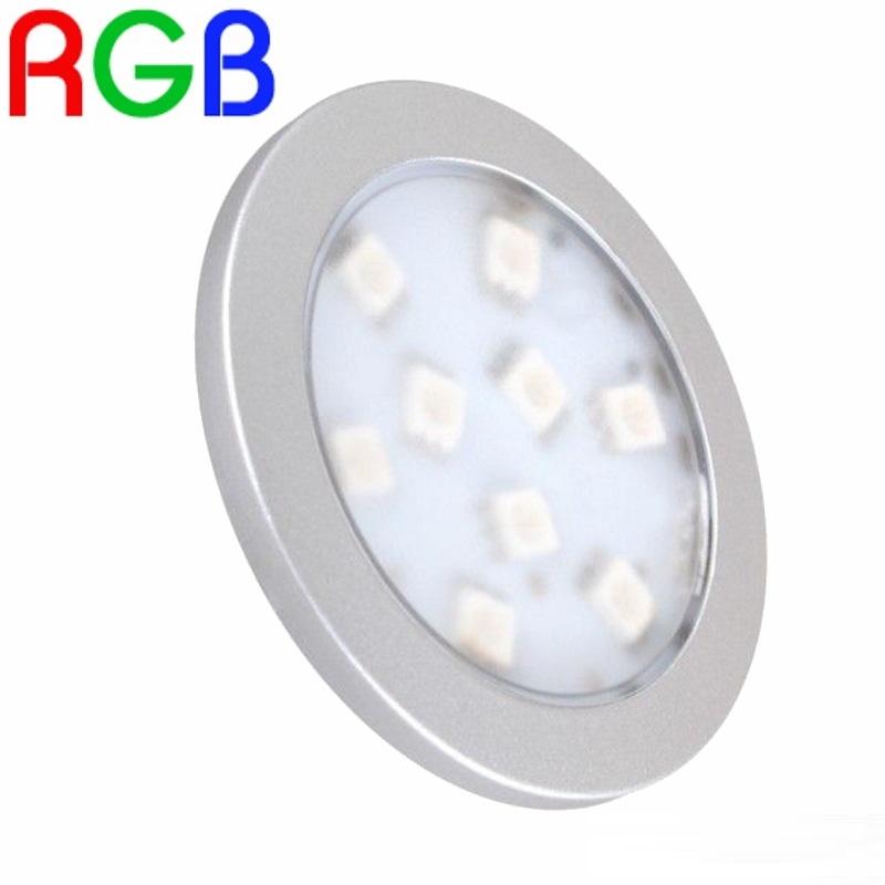 """RGB-LED Aufbau Möbel-/Unterbauleuchte """"ORBIT"""" in silber - RGB 12V / 2W"""