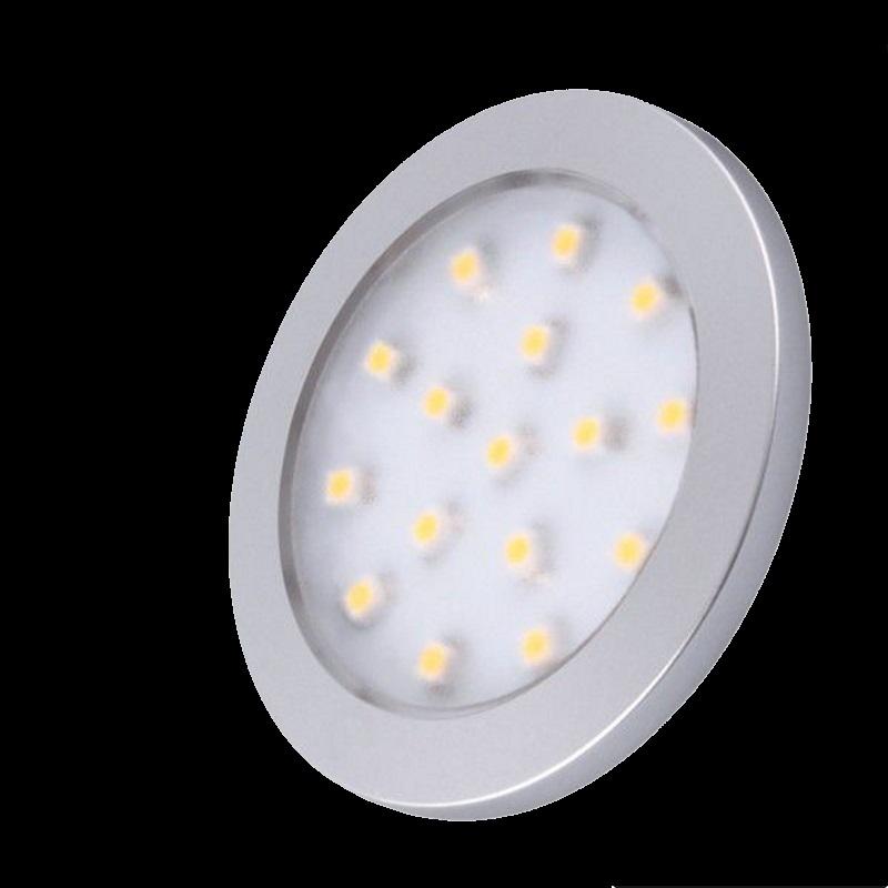 LED AUFBAU Möbel-/Unterbauleuchte ORBIT -silber- kalt-weiß (6000k) 12V/1,5W