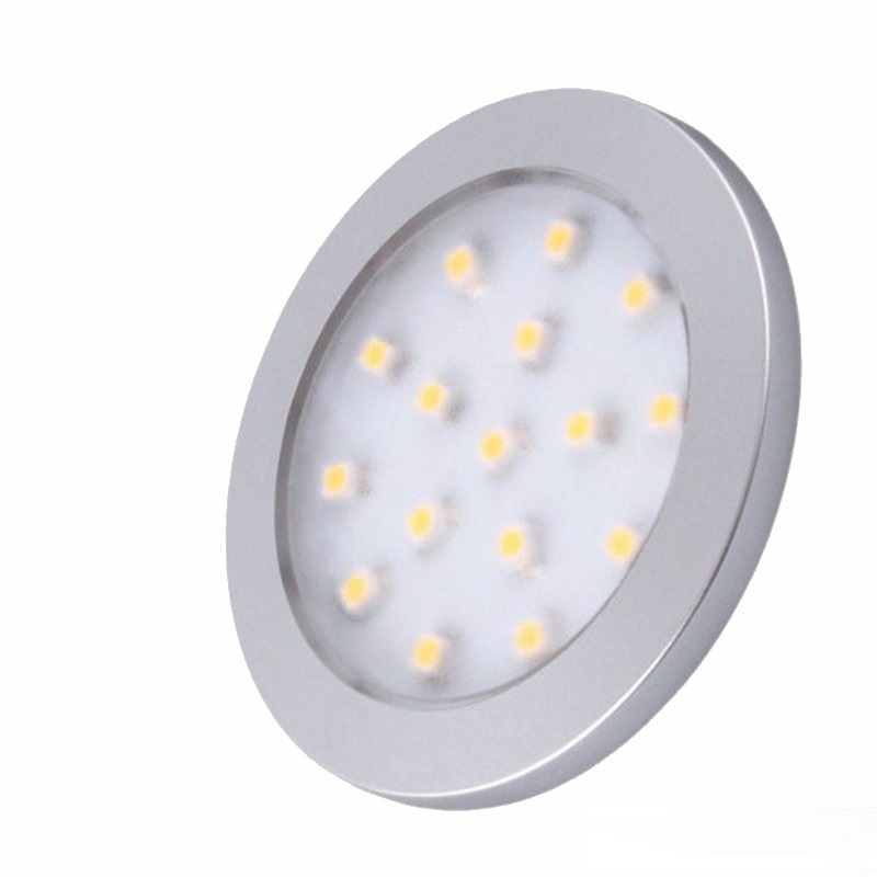 LED AUFBAU Möbel /Unterbauleuchte ORBIT silber warm weiß (3000k) 12V/1,5W