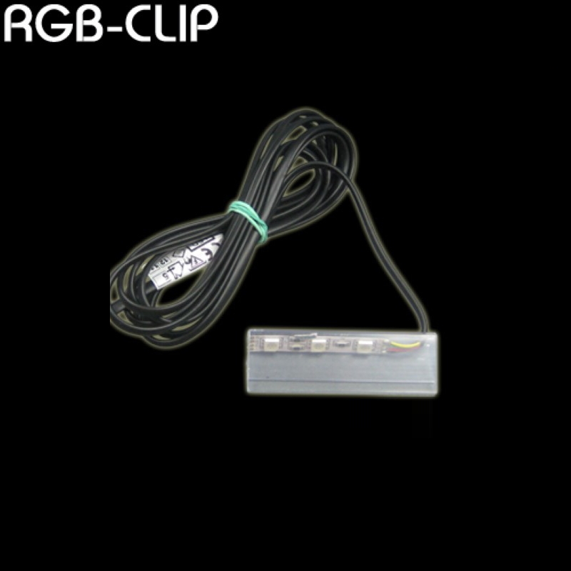 RGB LED CLIP als Glaskantenbeleuchtung mit 2m Anschlussleitung (LED Stripe)