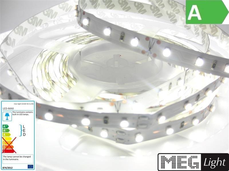 1m LED Streifen/Stripe 60x SMD3528/m 600Lm 12V 6W Ra=90 pur-weiß (4500K) IP20