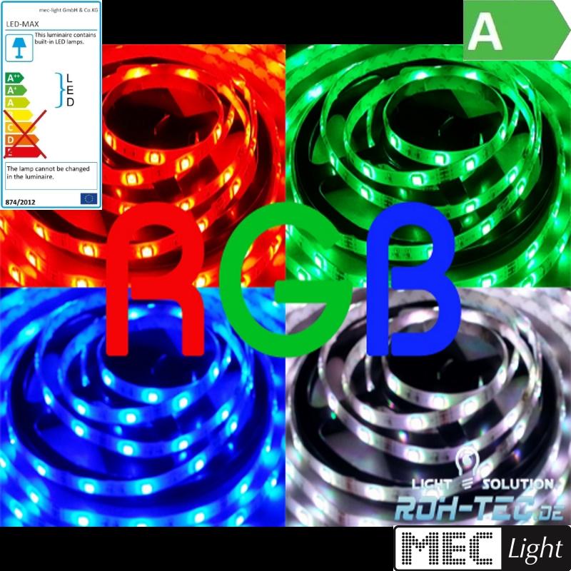 1m RGB-LED Streifen/Stripe 30x 3-Chip-SMDs/m 12V -WASSERFEST- IP66