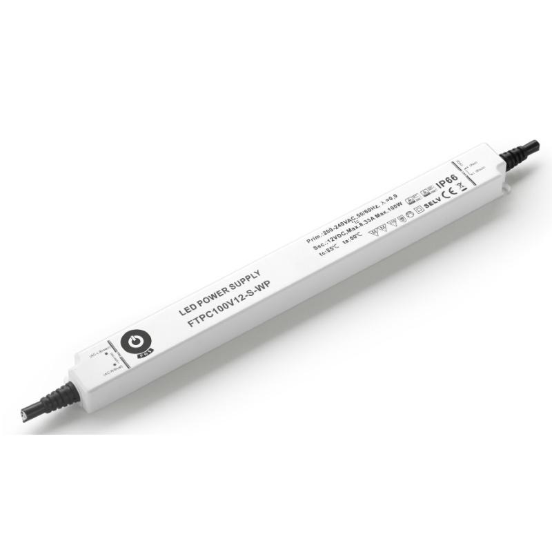 Slim Line LED Netzteil/Trafo mit PFC 12V/DC 100W 8,33A (FTPC100V12-S-WP) MM IP67