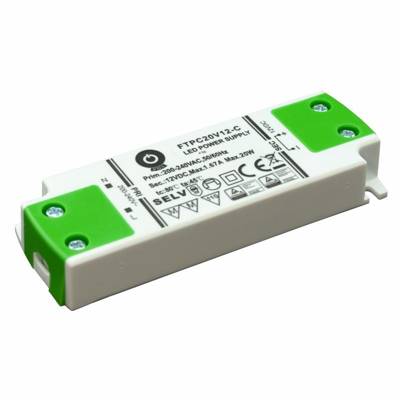 Slim Line LED Netzteil / Trafo mit PFC 12V/DC - 20W - 1,67A (FTPC20V12-C) MM