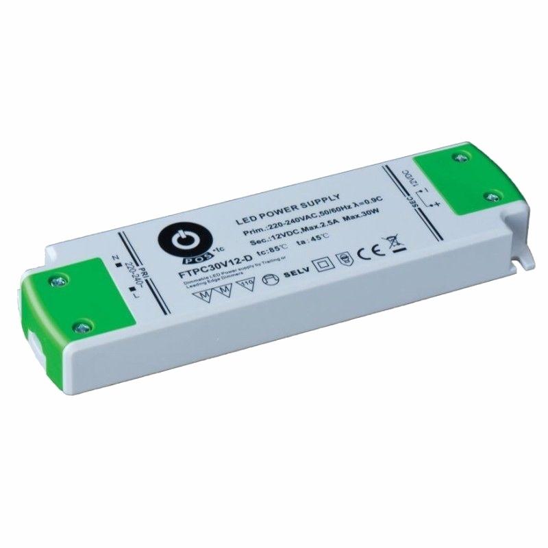 Slim Line dimmbar LED Netzteil / Trafo mit PFC 24V/DC 30W 1,25A (FTPC30V24-D) MM