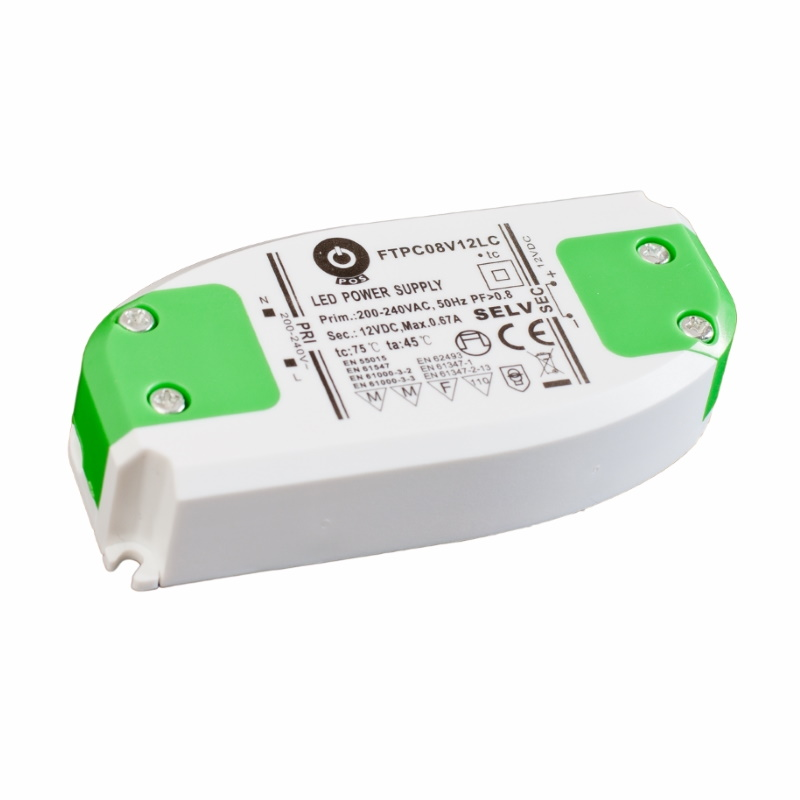 Slim Line LED Netzteil / Trafo mit PFC 12V/DC - 8W - 0,67A (FTPC8V12) MM