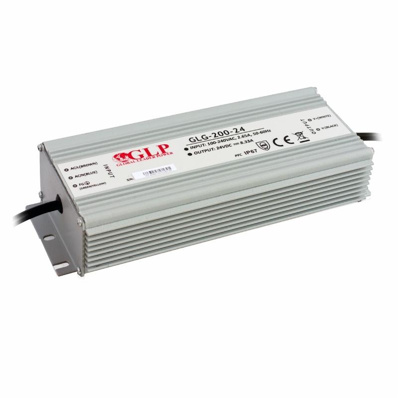 LED Trafo - Netzteil mit PFC 24V 200W 8,33A -wasserfest- GLP (GLG-200-24) IP67
