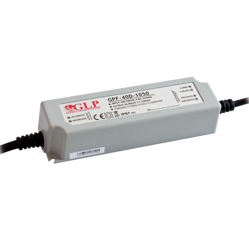 LED Konstantstrom Trafo dimmbar 700mA mit PFC 36~60V 25-42W (GPF-40D-700) IP67