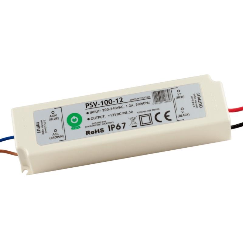 LED Trafo - SMD Netzteil - 100W - 8,3A - 12V/DC -wasserfest- (PSV-100-12) IP67
