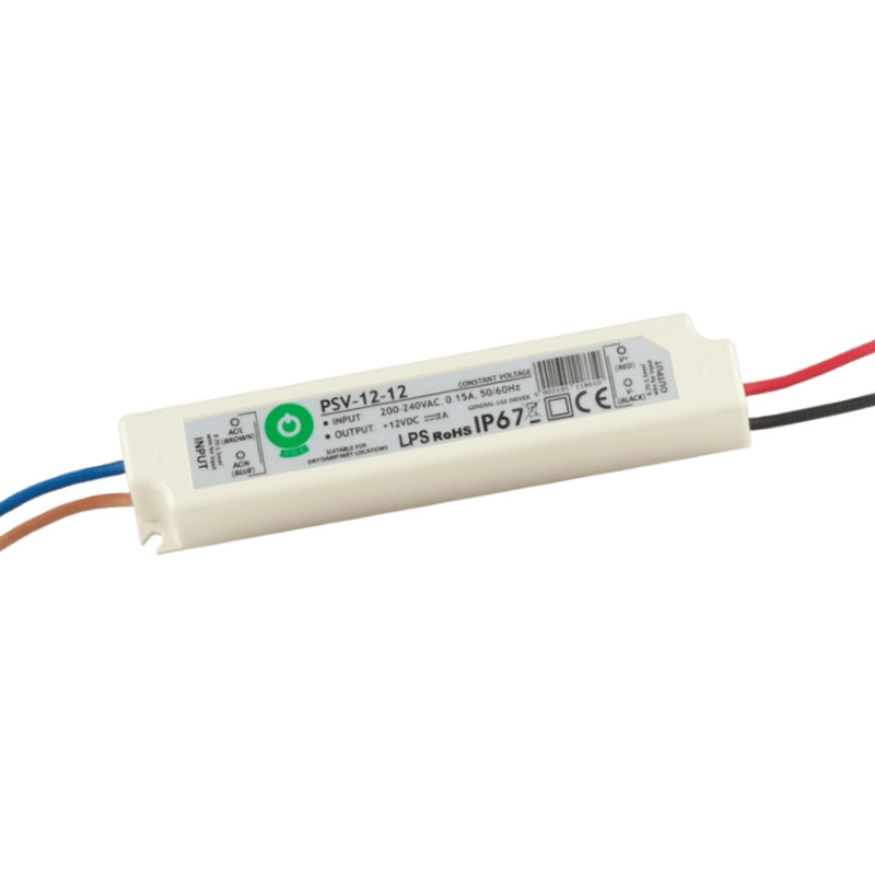LED Trafo - SMD Netzteil - 12W - 1A - 12V/DC -wasserfest- (PSV-12-12) IP67