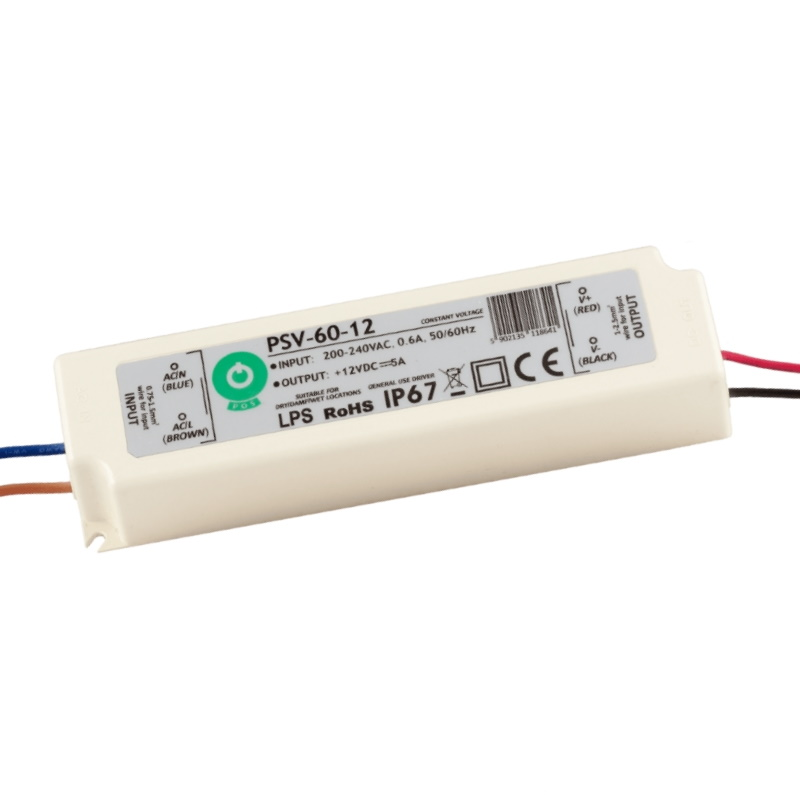 LED Trafo - SMD Netzteil - 60W - 5A - 12V/DC -wasserfest- (PSV-60-12) IP67