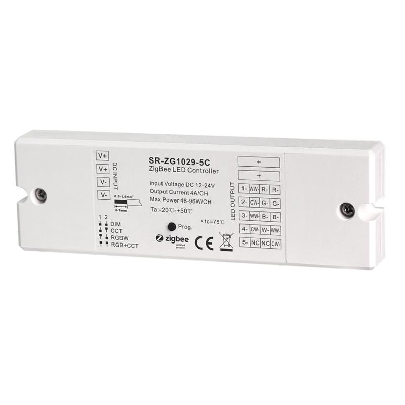 ZigBee Controller 4in1 DIM RGBW RGB+CCT 12-24V/DC 5x 4A LEDs (SR-ZG1029-5C)