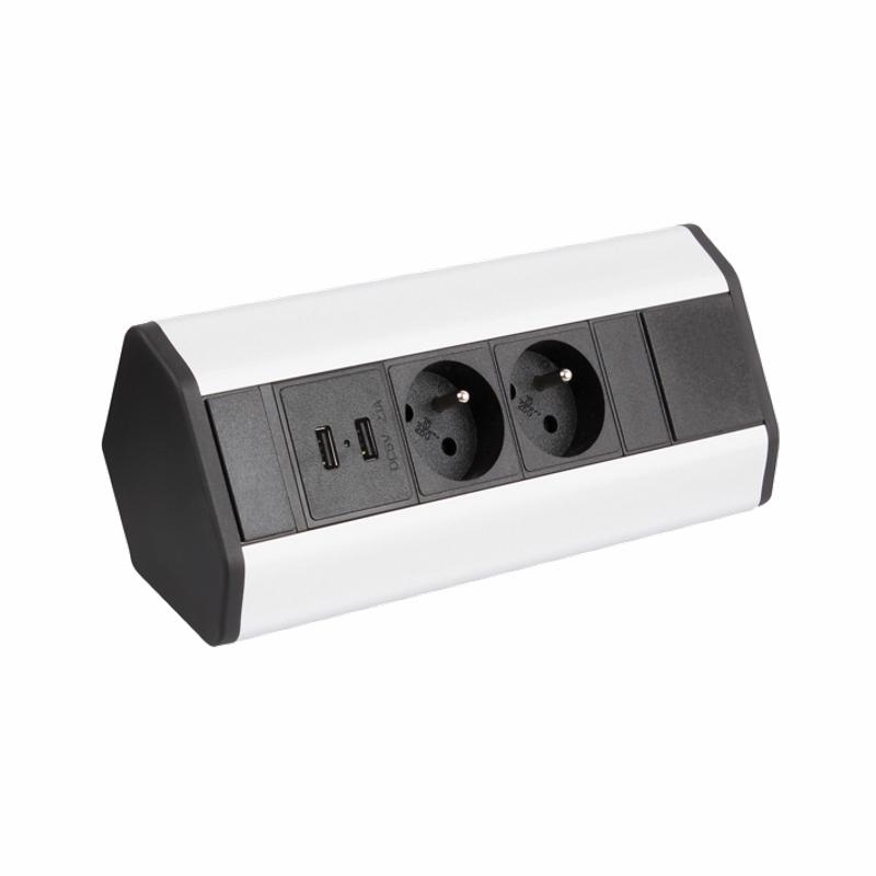 CORNERBOX Aluminium SchuKo 2-fach mit USB Steckdose 2-fach / Ecksteckdose