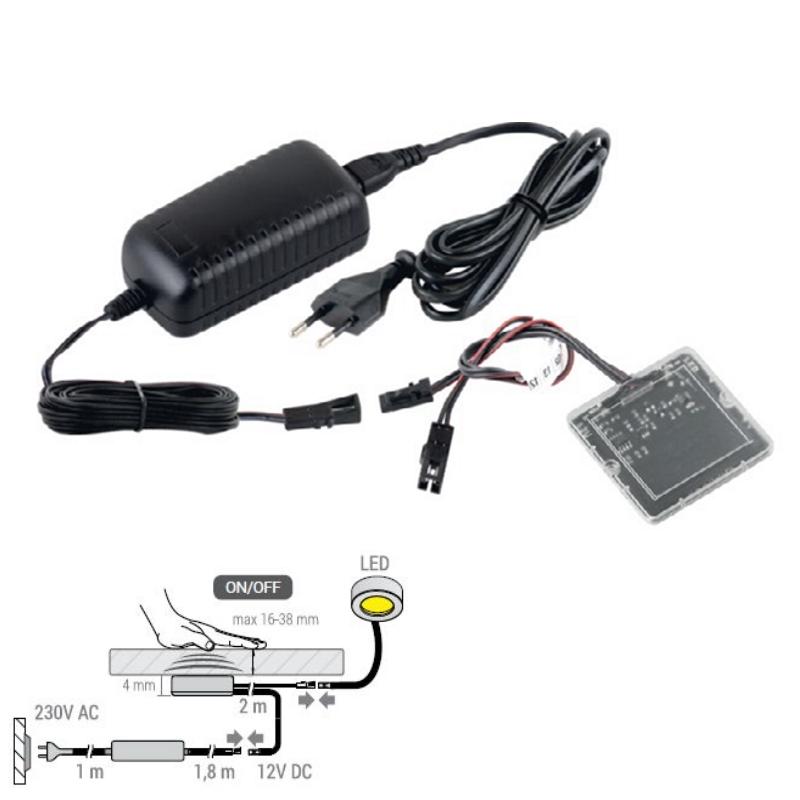 LED Berührungsschalter durch Holz bis 38mm mit Trafo 12V / 38W Ein /Ausschalten