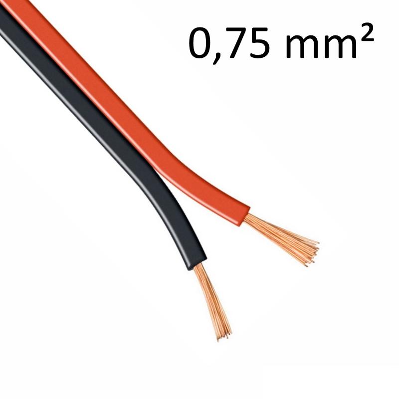 1-100m LED Kabel Zwillingslitze 2x 0,75mm² rot/schwarz 2 adrig Litze 100% Kupfer