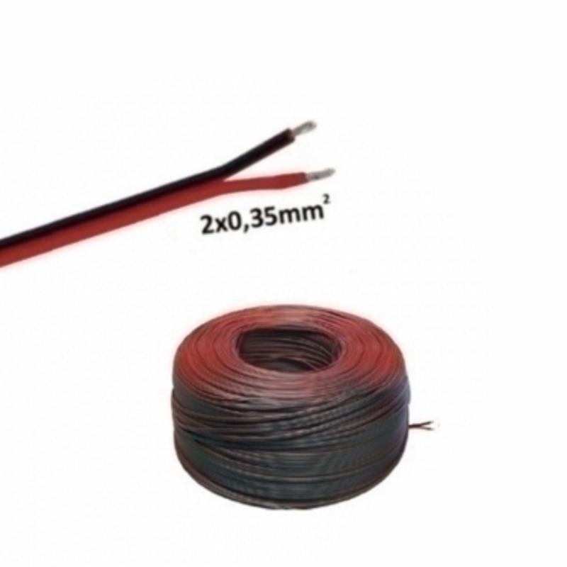 (0,49€/m)5-100m LED Kabel Zwillingslitze 2x 0,35mm² schwarz/rot 2 adrig